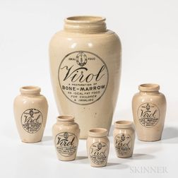"""Six Stoneware """"Virol"""" Bottles"""