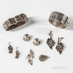 Group of Mexican Sterling Silver Jewelry with Blackened Details