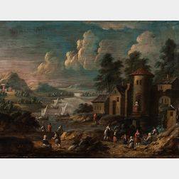 Marc Baets (Flemish, 1720-1785)      Two Works: River Landscape with a Tower and a Watermill