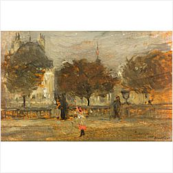 Ernest Clifford Peixotto (American, 1869-1940)  At the Louvre