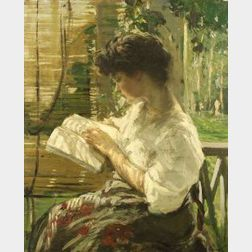 Lilian Matilda Genth (American, 1876-1953)  A Pleasant Afternoon/Portrait of a Young Woman Reading
