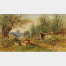 Albert Fitch Bellows (American, 1829-1883)      Landscape with Cottage and Livestock