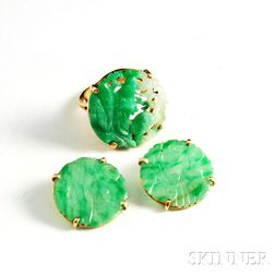 14kt Gold and Jade Suite