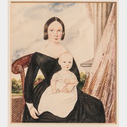 American School, 19th Century      Woman and Child with Drapery