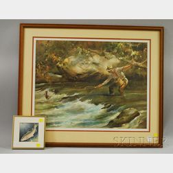 Framed Paul Flanigan Watercolor Depicting a Trout and Fishing Fly and a Framed   James M. Sessions Print Trout Stream