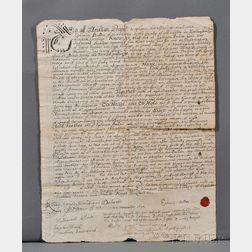 Land Deed, New England, 1694.