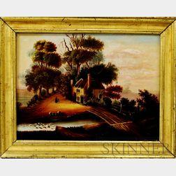 American School, 19th Century       Hudson River Scene.