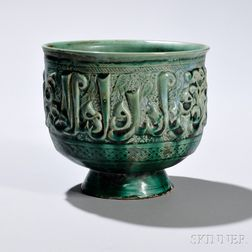 Green-glazed Nishapur High Bowl