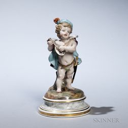 Meissen Porcelain Putto Figure Playing Mandolin