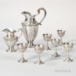 Eight Pieces of Mexican Sterling Silver Tableware