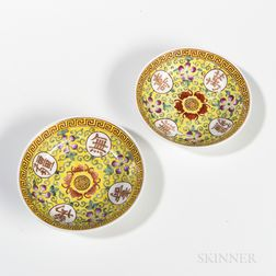 Pair of Famille Jaune Dishes