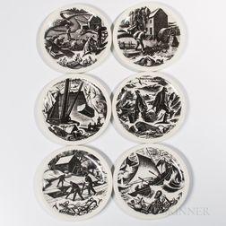 "Twelve Clare Leighton ""New England Industries"" Plates"