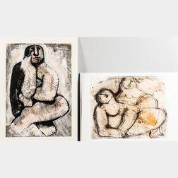 Oreste Dequel (Italian, 1923-1989)      Two Unframed Works on Paper: Seated Figure