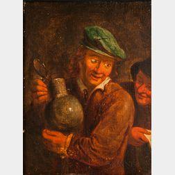 Manner of Adriaen Jansz van Ostade (Dutch, 1610-1685)      Man in a Green Cap Holding a Jug