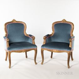 Pair of Louis XV-style Giltwood Armchairs
