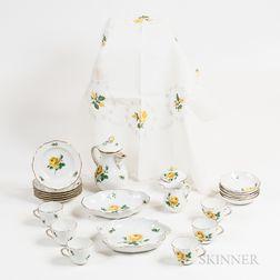 "Twenty-three-piece Meissen ""Yellow Rose"" Porcelain Tea Set and a Matching Tablecloth.     Estimate $200-250"