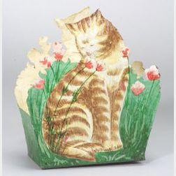 Decorative Painted Tin Cat-form Wastepaper Basket
