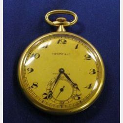 18kt Gold Openface Pocket Watch, Tiffany & Co. and Agassiz W. Co.