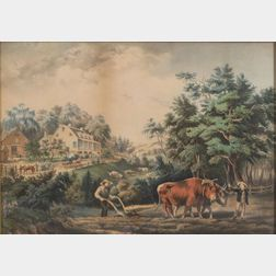 Nathaniel Currier, publisher (American, 1813-1888)    American Farm Scenes No. 1 (Spring).
