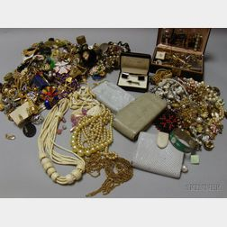 Three Bags of Assorted Costume Jewelry and Purses