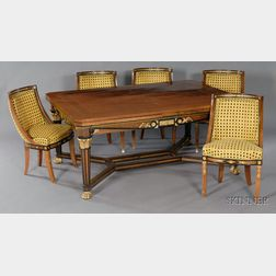 French Empire-style Part-Ebonized and Gilded Mahogany and Inlay Dining Room Set