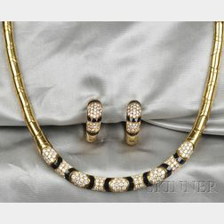 18kt Gold, Onyx, and Diamond Necklace and Earclips, retailed by Dorfman