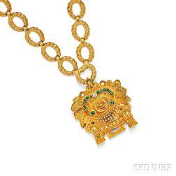 18kt Gold Gem-set Pendant Necklace