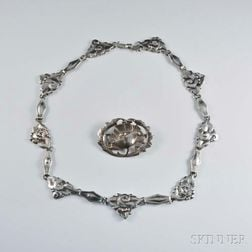 Peer Smed Chased Sterling Silver Floral Necklace and Brooch