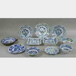 Eleven Pieces of Assorted Blue Onion Type Pattern Ceramic Tableware