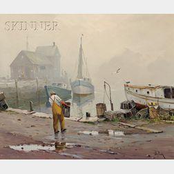 Otis Pierce Cook (American, 1900-1980)      Rockport Dock Scene
