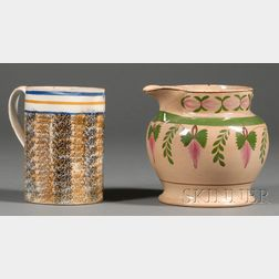 Mochaware Quart Mug and a Floral Enamel-decorated English Pottery Pitcher