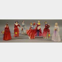 Seven Royal Doulton Porcelain Figures of Ladies