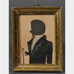 Silhouette Portrait of a Gentleman with a Walking Stick