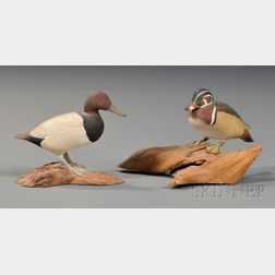 Miniature Carved and Painted Canvasback and Wood Duck Figures