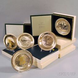 Eight Cased Sterling Silver Franklin Mint Collectible Plates