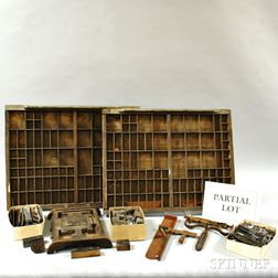 Large Group of Print Type, Stamps, Type Drawers, and Accessories