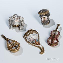 Five Continental Porcelain Boxes