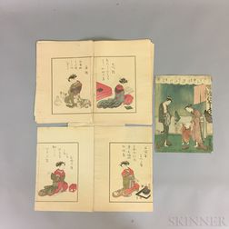 Six Woodblock Print Items