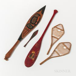 Three Miniature Canoe Paddles and a Pair of Miniature Snowshoes