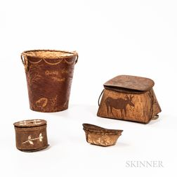 Four Northeast Birchbark Boxes