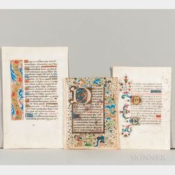 Manuscript Books of Hours, Twenty-six Parchment Leaves.