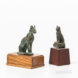 Two Bronze Bastet Figures