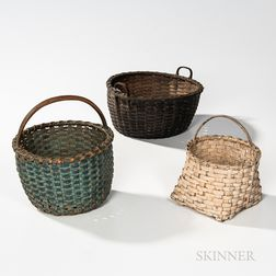 Three Painted Splint Baskets