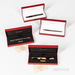 Four Cartier Pens