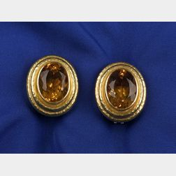 18kt Gold and Citrine Ear Clips