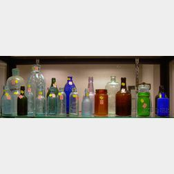 Approximately Twenty-two Aqua and Colored Glass Bottles and Jars