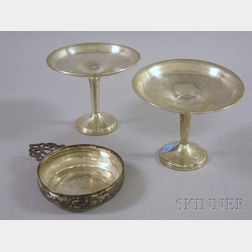 Pair of Silver Weighed Compotes and Silver Porringer