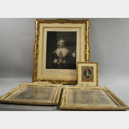 Four Framed European Portrait and Interior Prints