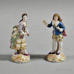Pair of Dresden Gilt and Polychrome Porcelain Figures