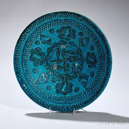 Turquoise-glazed Plate